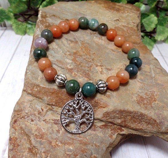 Silver Tree Bracelet With Indian Agate & Aventurine Gemstone Beads