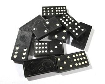 Dragon Back DOMINOES Ten (10) VINTAGE Black Dominoes Altered Art Assemblage Supplies Vintage Game Pieces (N118)