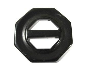 Carved Black Bakelite Buckle Slide VINTAGE Black BAKELITE Slide Buckle Bakelite Fashion Sewing Jewelry Supplies (J163)