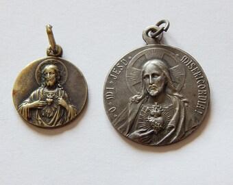 Jesus sacred heart medals 2 vintage medals