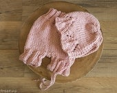 Pink Hat and Baby Pants Set, Baby Knit Pants, Bonnet, Newborn Props, Baby Props, Dusty Pink Diaper Cover, Knit Hat, RTS, Natural, Baby Girl