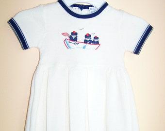 Vintage Girls Nautical Sailor Dress - Summer/Spring - Size 3T - 1980s - White & Navy Knit Dress - Short Sleeve/Pleated Skirt - Friemanit