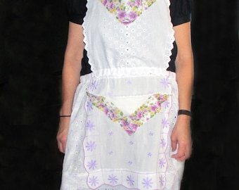 """Celebration Apron Upcycled from Reloved Vintage Linens -  """"Lavender and Lace"""" -  One-of-a-Kind Gift!"""