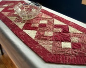 Red Ivory Table Runner Quilted Interlocking Squares Valentine's Day Elegant Quiltsy Handmade Heirloom FREE U.S. Shipping