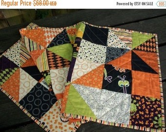 CIJ SALE Halloween Table Runner Monster Bash Pinwheels Quilted Quiltsy Handmade FREE U.S. Shipping