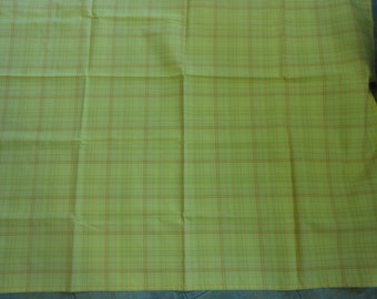 "Handmade cotton tablecloth pink orange and green woven plaid on a bright yellow background 53"" square"