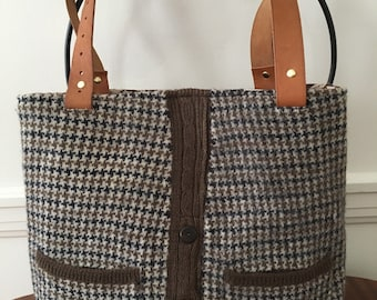 Houndstooth Felted Wool Tote Bag