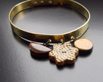 Handmade Metal Bangle, beaten, vintage brass, sterling silver rivets, handmade ceramic charms, Spring bangle, artisan, 1970's style