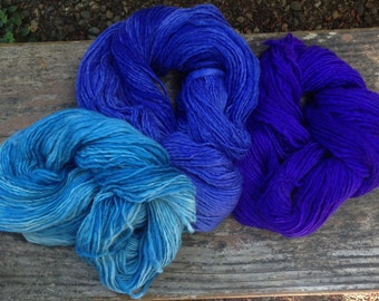 Hand Painted Uruguayan Bulky Art yarn, 3x 100G skeins, Blue Sky colour pack