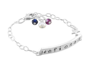 Baby ID Bracelet, hand stamped sterling silver, Little Girls name bracelets, birthday gift birthstone, personalized, star, custom, FIONA