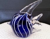 Vintage Blue and White Hand Blown Art Glass Tropical Angel Fish