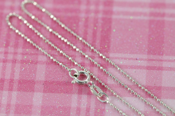 Sterling Silver Ball Chain Necklace, 1mm Thickness, Diamond Cut, 14 15 16 17 18 20 22 24 26 to 36 inches C003