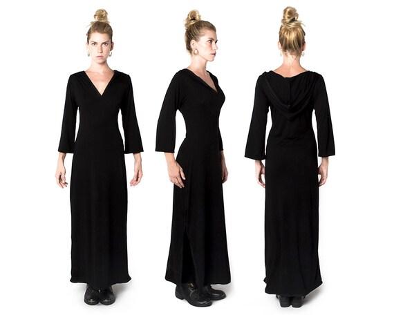 Black Jellaba Dress - Hooded Kaftan - Kaftan - Moroccan Kaftan - Hooded Dress
