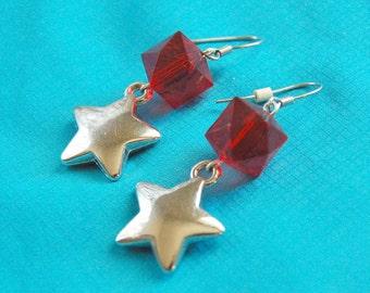 Star Drop Red Earrings
