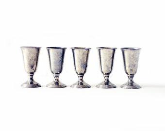 Five Metal Shot Glasses | Revere Pewter | Vintage |  Mad Men | Pedestal Base