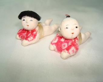 1950s Miniature Paper Machie Like Japanese Babies.