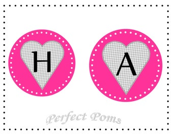 PRINTABLE Valentine's Day Heart Banner: Pink and Gray Houndstooth - Digital Download PDF - Party Decoration - Red Banner - Bunting