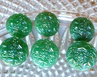 Antique Vintage Czech's Buttons, Green Shamrock Buttons, Green,  Aurora Borealis , Circa 1930's,  Button Jewelry,  Shamrock Glass Buttons