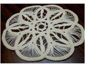 "Off White Macrame Doily, Medium Sized Round Knotwork Ivory Figurine / Lamp Base, Crocheted Mandala Stitching, Openwork Pattern, 7"" Diameter"