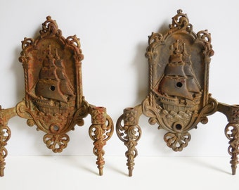 Two antique Light sconces Nautical Ship Mast Spanish Galleon metal double arm bracket fixtures Restoration salvage lighting Matching pair