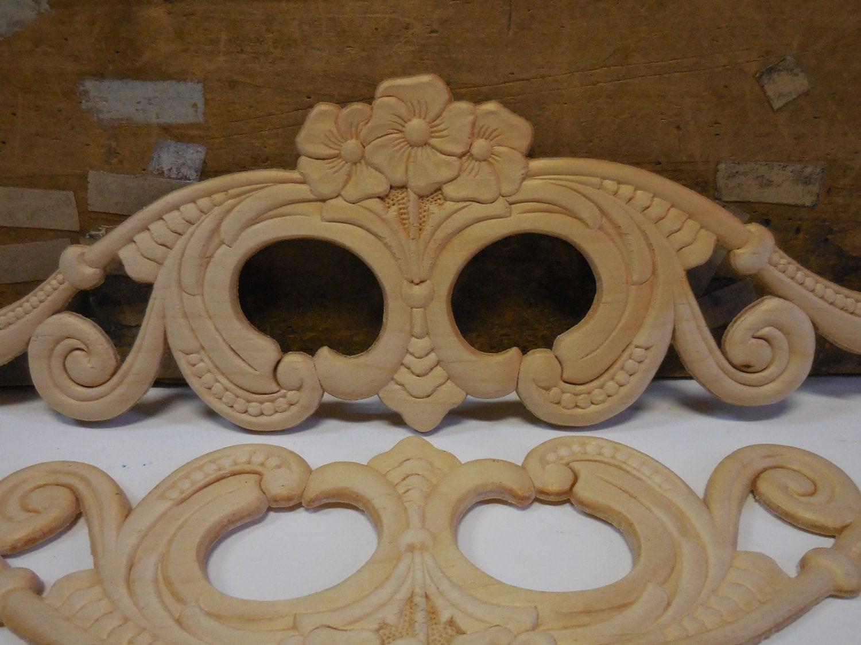 2 Wood Appliques Decorative Furniture Shelves Frame