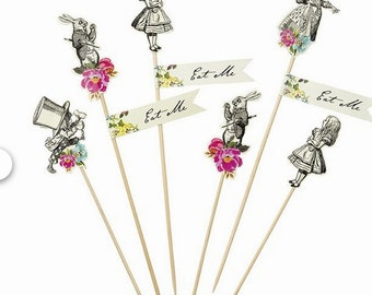 Alice in Wonderland  Mad Hatter Cake Picks -set of 12