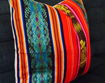 Boho pillow case, RED Tribal Pillows 20 Inch cover Aztec Mexican Ethnic pink Throw Boho Chic Decor Global Geometric Striped Black, turquoise