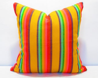 Yellow Pillow, Tribal Pillows Covers, Colorful Pillow Covers, Bohemian Decor, Boho Bedding, Mexican Cushion, Square, tribal pillowcase