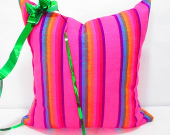 Tribal pillow  18x18, Pink Tribal Pillows Covers, Pillow Covers, Bohemian Decor, Boho Bedding, Mexican Cushion, Square, tribal pillowcase