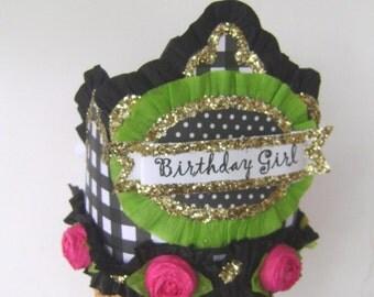 Birthday Part Crown, Birthday Party Hat, Black check Birthday Party Hat, Girls Birthday Hatpink and black, customizr