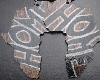 Large Stained Africa with Home Graffiti Earrings