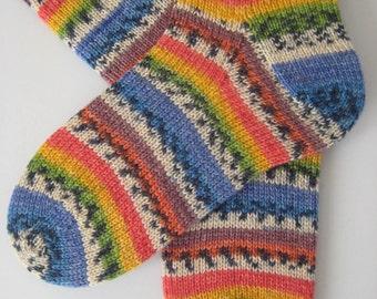 hand knitted womens wool socks, UK 4-6 US 6-8