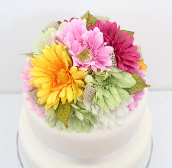 Wedding Cake Topper - Rustic Green, Magenta, Yellow, Pink Gerbera Daisy, Burlap Accented Silk Flower Wedding Cake Topper
