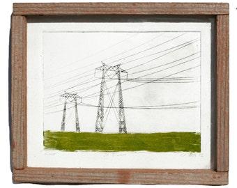 CA Towers framed monoprint