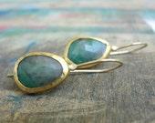 Emerald Earrings , Green Emerald Earrings - Gold Earrings - 22k Gold Earrings - One of a kind