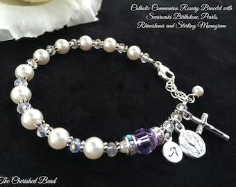 Catholic Communion Personalized Birthstone Rosary Bracelet with Swarovski Pearls, Rhinestones and Sterling Monogram