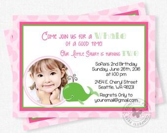 Whale Birthday Invitation, Whale Birthday Invitation, Preppy Whale, Pink and Green, Photo Invitation