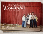 "Christmas card, Photo Christmas card, Holiday Card, Printable Christmas card, Modern Christmas card (""Wonderful Time"" 3 or 4 photo"")"