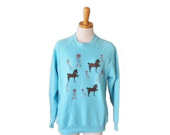 CIJ 40% off sale // Vintage 80s Horse and Ribbon Derby Sweatshirt - Sky Blue - Women M, Men S - Screen Stars