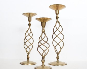 back to school sale // Vintage 70s Instant Collection 3 Tall Large Brass Spindle Spiral Candlestick Holders Lot, wedding decor, home decor