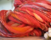 Handspun handdyed  wool chunky art yarn in bright flaming colors extra bulky extreme thick n thin 92 yds