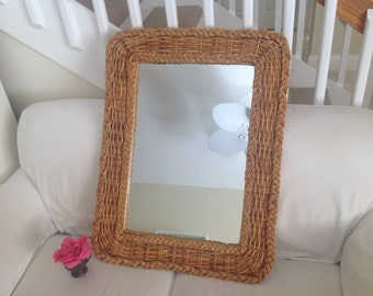 BRAIDED RATTAN MIRROR Bohemian Bamboo Wicker Rattan Mirror /Vintage Wicker Mirror / Braided Mirror Bohemian Island Style at Retro Daisy Girl