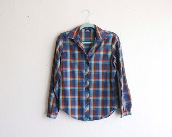 Women's Plaid Button up Blouse Shirt Koret Medium
