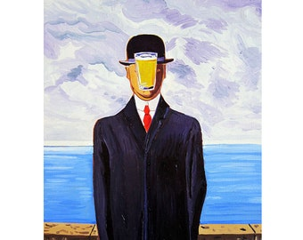 Beer Art Print, Parody of The Son of Man by René Magritte, Beer Pint Print, Gift for Husband, Bar Art, Gift for Brewer, Man Cave Beer Poster
