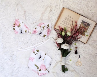 Romantic Floral 'Anemone' Pastel Pink and White Bralette and Panties Lingerie Set Handmade to Order