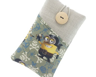 Minions Galaxy S5 case, Galaxy S5 mini fabric case, Galaxy S6 pouch, Galaxy S6 Edge cover, Galaxy S7 Edge sleeve, cute minions, yellow/black