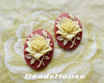 90-00-CA 4pcs (18 x 25mm)Pretty Roses Cabochon Cameo Ivory on Red