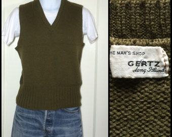 Vintage 1940's WWII era wool knit work Sweater Vest looks size Medium Military Army Green by Gertz the Man's Shop new york long cuff