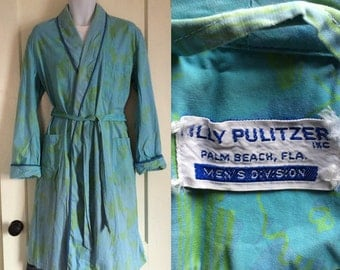 1960's Lilly Pulitzer soft cotton patterned Mens Robe looks size L Palm Beach