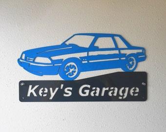 Ford Mustang Fox Body - Man Cave - Garage Sign - Satin Black - Personalized Sign - Metal Art - Car Art